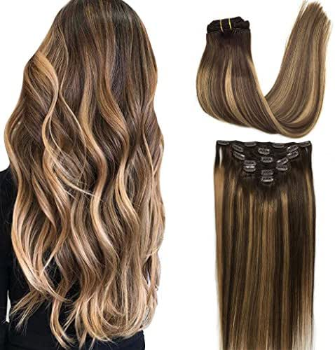Googoo 22 inch Ombre Clip in Hair Extensions Chocolate Brown to Honey Blonde Remy Clip in Human Hair Extensions Straight Balayage Real Natural Hair Extensions 120g 7pcs