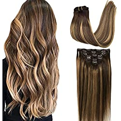 Googoo Hair Extensions Clip in Ombre Chocolate Brown to Honey Blonde Remy Human Hair Extensions Clip in Real Hair Extensions Double Weft Hair Extensions Straight 7pcs 120g 16inch