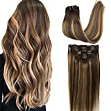Googoo 7pcs 120g Hair extensions Clip in Remy Ombre Chocolate Brown to Honey Blonde Balayage Clip in Human Hair Extensions Double Weft Hair Extensions Straight Real Hair Extensions 20inch