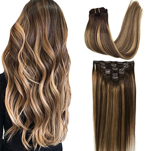 Googoo Clip in Human Hair Extensions Remy Ombre Chocolate Brown to Honey Blonde Balayage Hair Extensions Clip in Straight Real Hair Extensions Natural Hair 7pcs 120g 18 inch (Remy Hair Human Extensions)