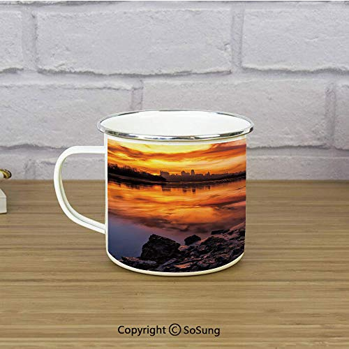 Landscape Travel Enamel Mug,Usa Missouri Kansas City Scenery of a Sunset Lake Nature Camping Themed Art Photo,11 oz Practical Cup for Kitchen, Campfire, Home, TravelMulticolor