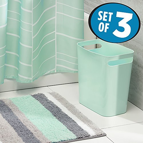 amazoncom mdesign fabric shower curtain striped microfiber bathroom accent rug wastebasket trash can set of 3 mintgraywhite home kitchen - Bathroom Sets
