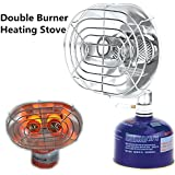 Ezyoutdoor Portable Double Head Gas Heater Outdoor Camping Warmer Heater Double Burners Heating Furnace Stove Infrared Ray Gas Heater Tools