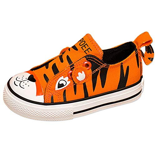 KaMiao Toddler Animal Printing Canvas Shoes Flat Laceless Slip-on Sneakers Walking Tennis Shoes School Shoes KM911-Orange-23