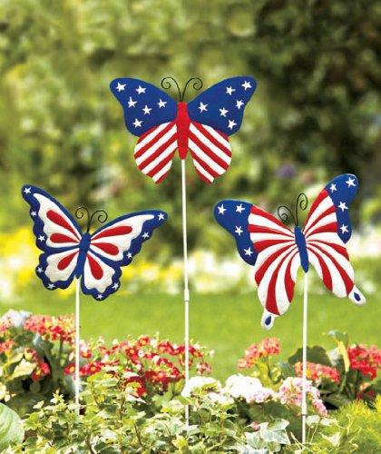 Amazon.com : Set Of 3 Patriotic Butterfly Garden Stakes Yard Art : Garden U0026  Outdoor