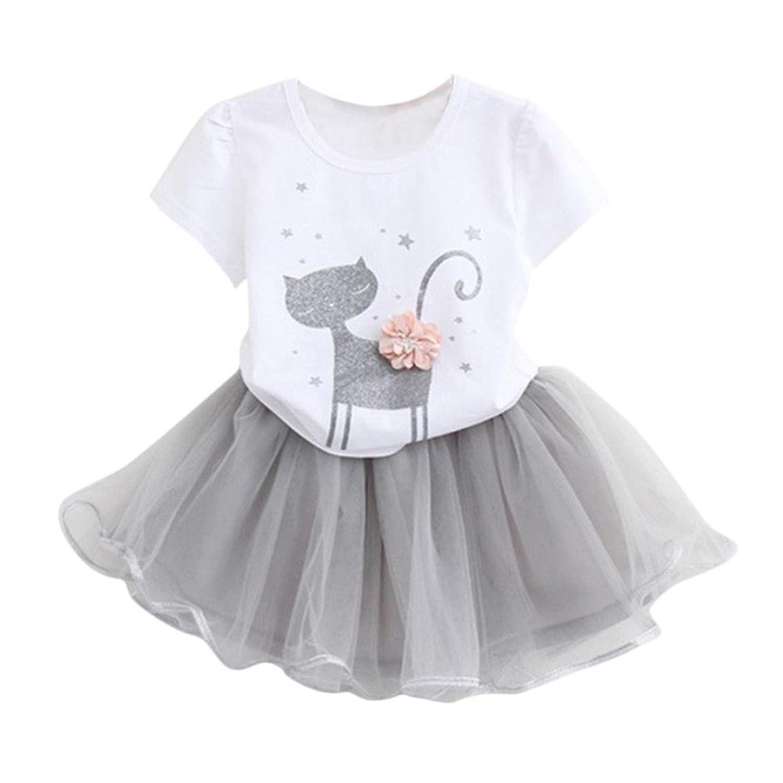 Tefamore Summer Kids Girls Fashion Cartoon Little Kitten imprimé chemise robe set de vêtements