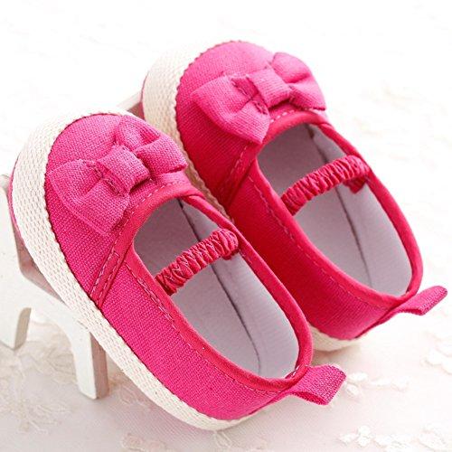 Etrack-Online Mary Jane Shoes - Zapatos primeros pasos de Lona para niña Hot Pink