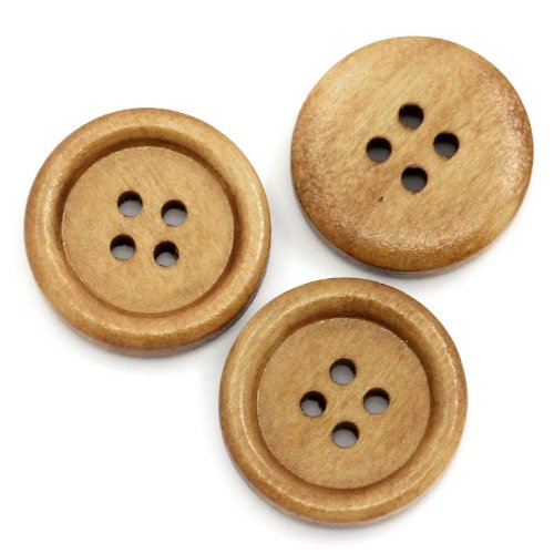 PEPPERLONELY Brand 100PC Natural 4 Hole Scrapbooking Sewing Wood Buttons 20mm(6/8 Inch)