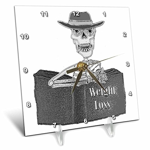"""3dRose""""Funny Cool Skeleton Reading Weight Loss Book Desk Clock 6"""" x 6"""""""