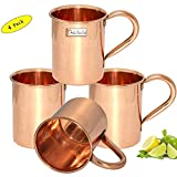 Set of 4 - Prisha India Craft ® Copper Mug for Moscow Mules 450 ML / 15 oz - 100% pure copper - Lacquered Finish Mule Cup, Moscow Mule Cocktail Cup, Copper Mugs, Cocktail Mugs with No Inner Linings