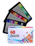 Positive Art Fineliner Coloring Pen Set 60 UNIQUE COLORS With Metal Case | Colorful Ultra Fine Tips 0.4 mm | Adult Coloring Books, Draw Pictures, Write Notes | Assorted Colors, Quick Dry Ink