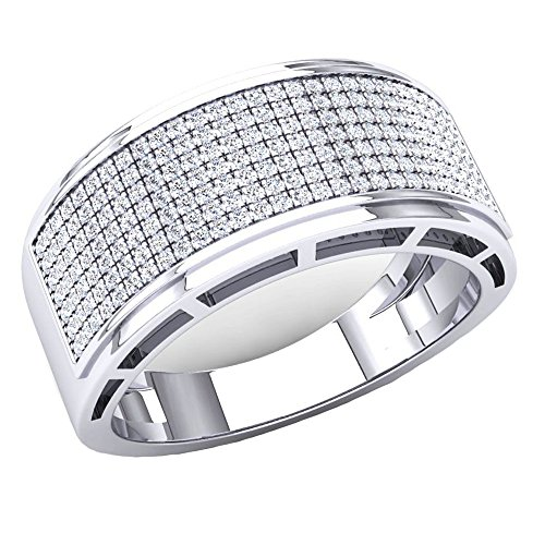 0.55 Carat (Ctw) 10K White Gold Round White Diamond Men's Hip Hop Wedding Band 1/2 CT (Size 9) by DazzlingRock Collection