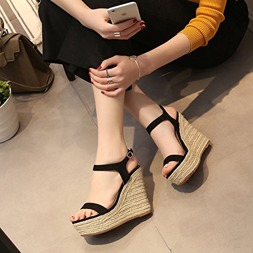 KHSKX-Die Neue Koreanische Frauen Leder Keil Sandalen Dicken Strohhalm Unten Wasserdicht Alle Treffer Wort Schnalle Hochhackige Schuhe Im Sommer 9Cm black