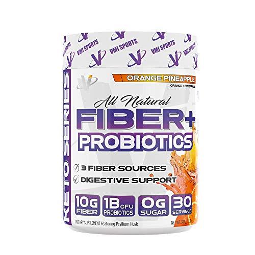 VMI Sports Fiber + Probiotics All Natural Zero Sugar Gluten-Free, Orange Pineapple Flavor, 30 Servings