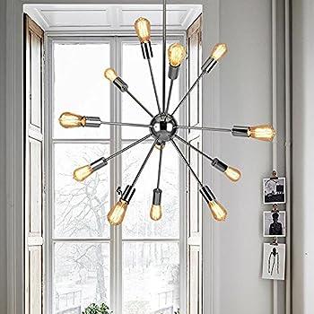 Sputnik Chandelier - Housen Solutions 12 Lights Pendant Lighting, Chrome Finished Pendant Chandelier, Modern Ceiling Light Fixture, UL LISTED