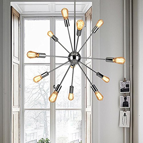 Sputnik Chandeliers 12 Lights Modern Pendant Lighting Chrome Finished Ceiling Light Fixture, UL Listed