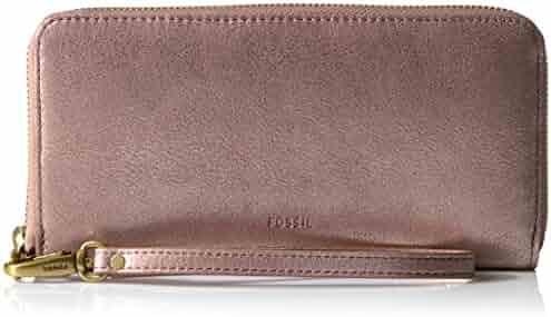 Fossil Emma Rfid Large Zip Wallet-Rose Gold