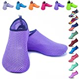 Peicees Mens and Womens Water Shoes Quick Dry Dive Beach Aqua Water Socks Upgraded Skin Shoes Booties for Beach Swim Snorkeling Surf Yoga Exercise(Mesh Purple-US Big Kid:4-4.5M/US W:5.5-6.5M)