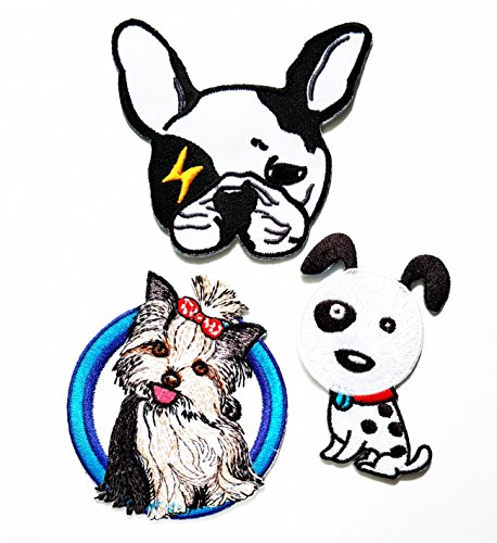 (HHO Set 3 Piece Animal Cartoon Patch Shih Tzu Dog Smile Patch Kid Baby Boy Jacket T- Shirt Patch Sew Iron on Embroidered Symbol Badge Cloth Sign Costume)