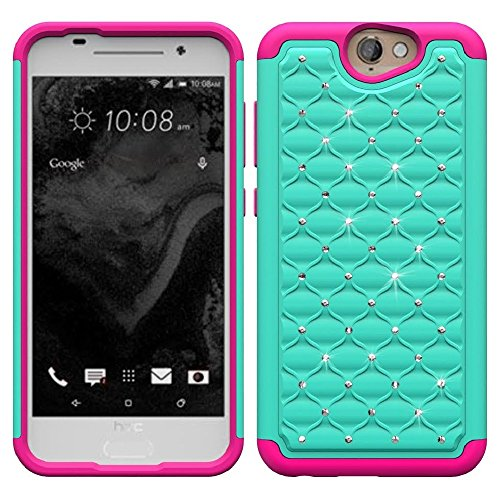 One A9 Case, SOGA® [Jewel Gem Series] Hybrid Diamond Bling Cover Protector Case for HTC One A9 / HTC Aero (AT&T, Verizon, Sprint, T-Mobile) - Teal / Hot Pink