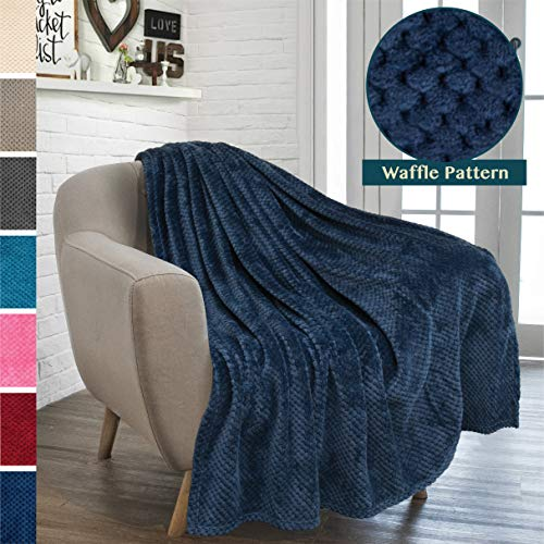 - PAVILIA Premium Flannel Fleece Throw Blanket for Sofa Couch | Navy Blue Waffle Textured Soft Fuzzy Throw | Warm Cozy Microfiber | Lightweight, All Season Use | 50 x 60 Inches