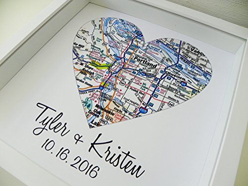 Heart Map Framed Art Map Heart Wedding Gifts for Couples