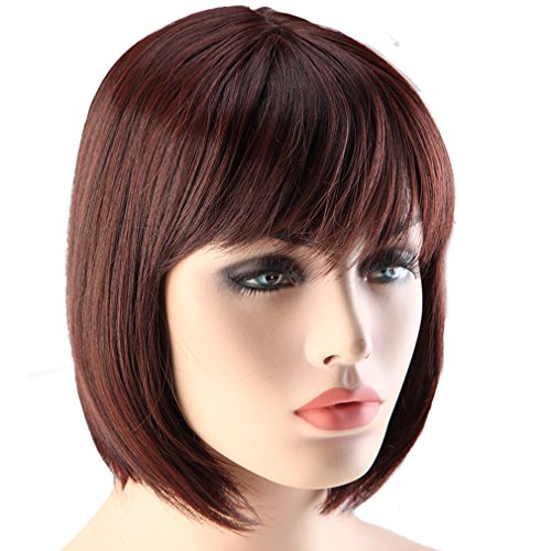 S-noilite Charming Short Black Auburn Mix BOB Full Wigs Natural Hair for Party Daily Dress USPS