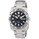Seiko Men's SRP165 Stainless Steel Analog with Black Dial Watch