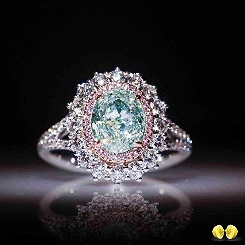 Digital baby Sparkling 925 Sterling Silver Natural Gemstone Aquamarine & Pink Sapphire Ring for Women Wedding Engagement Party Jewelry Size 6 7 8 9 ()