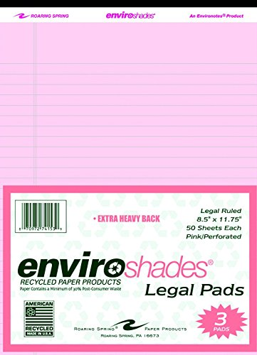 Roaring Spring Enviroshades Legal Pad, 8-1/2 X 11-3/4 in, 50 Sheets, Paper, Pink, Pack of 3