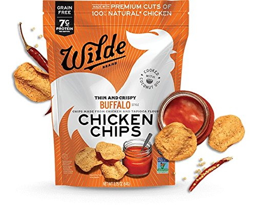 Wilde Chicken Protein Chips Buffalo, Made with Real Chicken, Thin and Crispy, Paleo-Certified Diet, Keto Snacks, Low-Carb, Healthy Fats, Low Sugar, Gluten-Free, Grain-Free, Non-GMO (4-Pack)