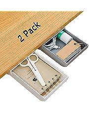 Under Desk Drawer 2 Pack Under Desk Storage, Desk Organizer Drawer, Drawer Organizer Hidden Under Table Drawer Organizer Set for Office Home School, Self-Stick Expandable Drawer Tray