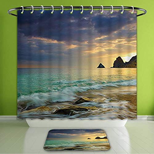 (Waterproof Shower Curtain and Bath Rug Set Seaside Decor Collection Seascape Dramatic Clouds Sunrise from Seaside Hill Wav Bath Curtain and Doormat Suit for Bathroom Extra Long Size 72