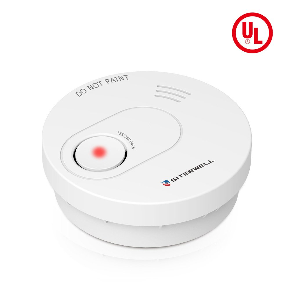 SITERWELL 10 Years Smoke Detector and Fire Alarm (Not Hardwired) Easy to Install Photoelectric Sensor Smoke Alarm with Test/Silence Button,UL Listed,Build-in Lithium Battery (GS526A)