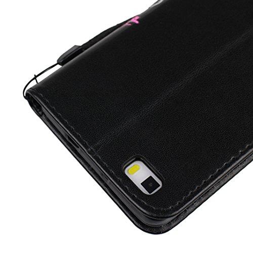 Huawei P8 Lite Funda Libro Suave PU Leather Cuero, Asnlove Tapa Cartera Mariposa Impresión Carcasa PU Leather Con TPU Silicona 5.0 pulgadas Soporte Plegable Ranuras para Tarjetas Billetera y Cierre Ma Negro