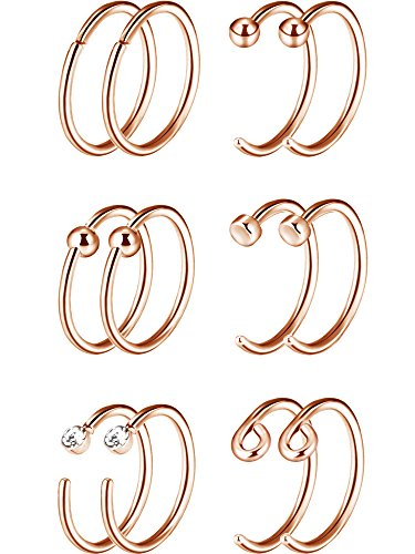 Ring Steel Rose Stainless (Mudder 20G 12 Pieces 316L Stainless Steel Nose Rings Hoop Cubic Zircon Nose Stud Piercing, 6 Styles (Rose Gold))
