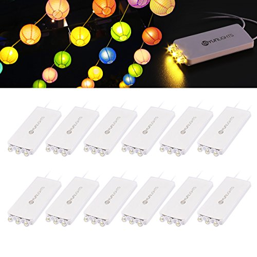 10 Pack Mini Party Lights with 3 LEDs, Waterproof Battery Operated Lights for Paper Lanterns Christmas Star Lantern Balloons Outdoor/Indoor Wedding Birthday Party Decoration - Warm White