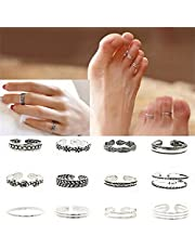HEBEI 12PCs/set Celebrity Jewelry Retro Silver Adjustable Open Toe Ring Finger Foot multi-color one size