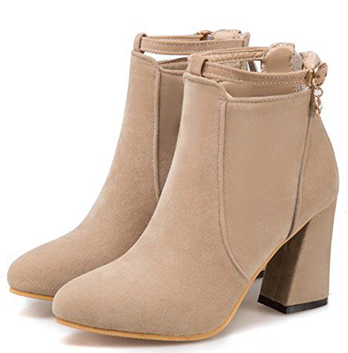 Frosted Beige Heels Aisun Women's Chunky High Trendy Booties Round Toe Ankle wx0cBvaTq