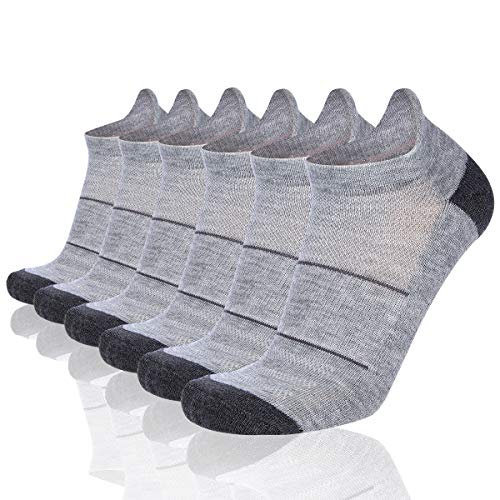 COOVAN Mens 6 Pack Athletic No Show Low Cut Socks Men Ankle Breathable Casual Cushion Sport Tab Sock