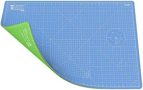 ANSIO A1 de doble cara Autocuración 5 capas de tapete de corte Imperial / Métrico 34 pulgadas x 22.5 pulgadas (89 cm x 59 cm) - Azul cielo/verde lima: Amazon.es: Hogar