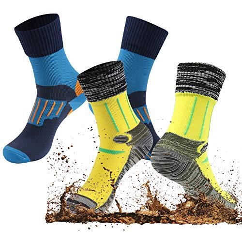 Navy Pack Crew Sock 2 (Waterproof Hiking Socks, RANDY SUN Men & Women Crew Breathable Camping Socks, 2 Pairs-1Black&Navy 1Grey&Yellow, Small)