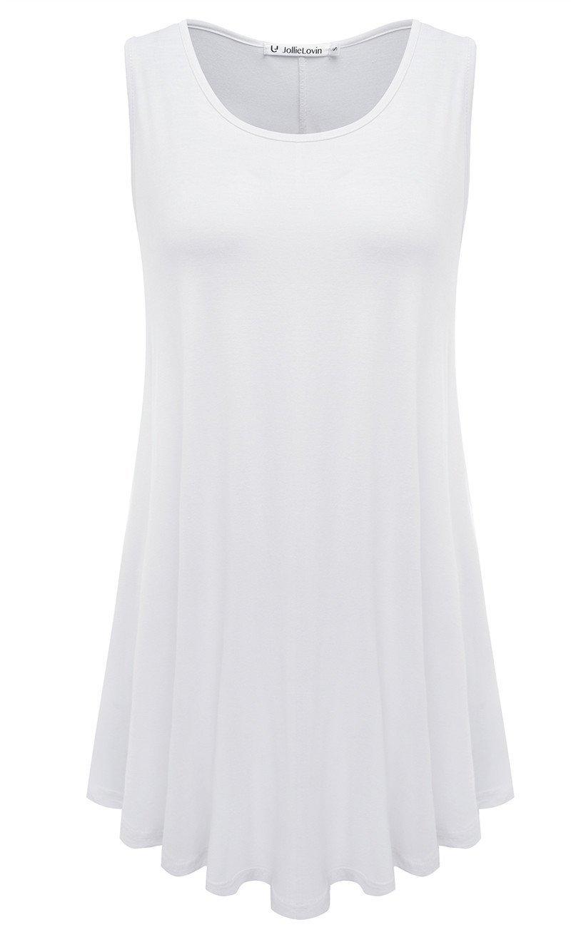 JollieLovin Womens Sleeveless Comfy Plus Size Tunic Tank Top with Flare Hem - White, XL (1X)