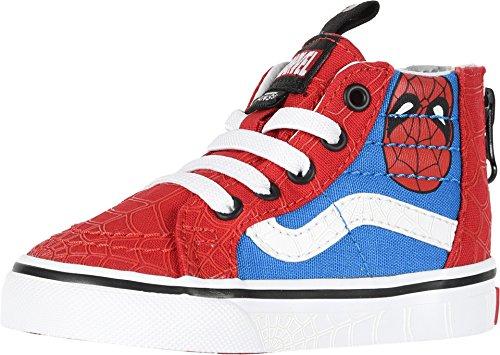 Vans Kids X Marvel SK8-Hi Zip Skate Shoes (8 M US Toddler, (Marvel) Spider-Man/True White)