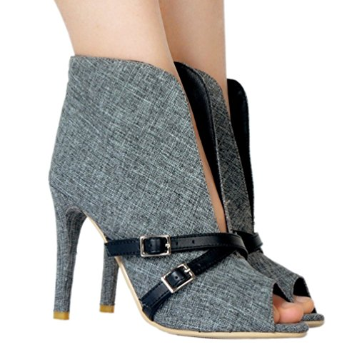 Handmade Gray Buckles Shoes Party Fashion Pumps Peep CASSOCK Deco Womens Toe Demin P4wv5Yq