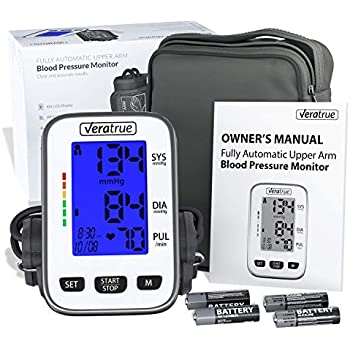 Upper Arm Blood Pressure Monitor by Veratrue - Includes: Fully Auto Monitor, Fit-All Cuff, 4AA & Carrying case - XXL LCD Display, Speaker, Blue Backlight, ...