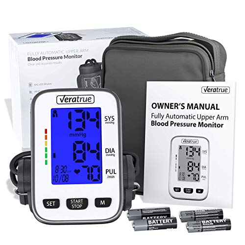 Blood Pressure Monitors Best (Upper Arm Blood Pressure Monitor by Veratrue - Includes: Fully Auto Monitor, Fit-All Cuff, 4AA & Carrying case - XXL LCD Display, Speaker, Blue Backlight, Irregular Heartbeat Detector, Memory)