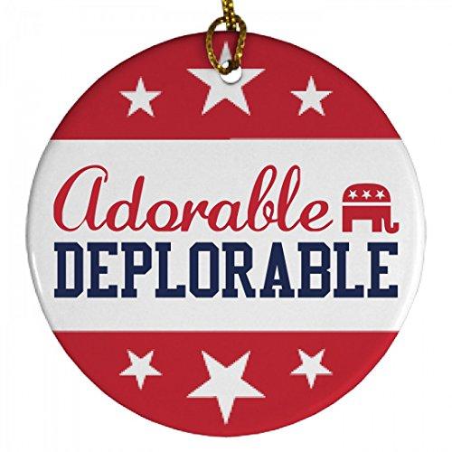 Adorable Deplorable Trump Ornament: Porcelain Circle Ornament (Tree Presidential Christmas)