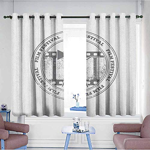 Bead Projection Screen Glass (HOMEDD Blackout Curtains,Movie Theater Film Festival Grungy Round Stamp with an Antique Projection Camera Silhouette,Great for Living Rooms & Bedrooms,W55x39L Grey White)