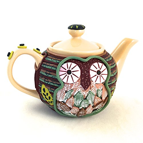 Owl teapot handcrafted polymer art collectible home decor